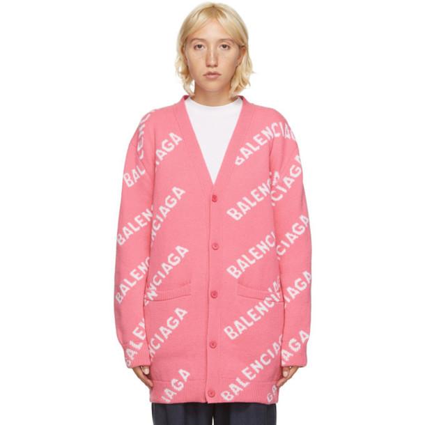 Balenciaga Pink and White All Over Logo Cardigan