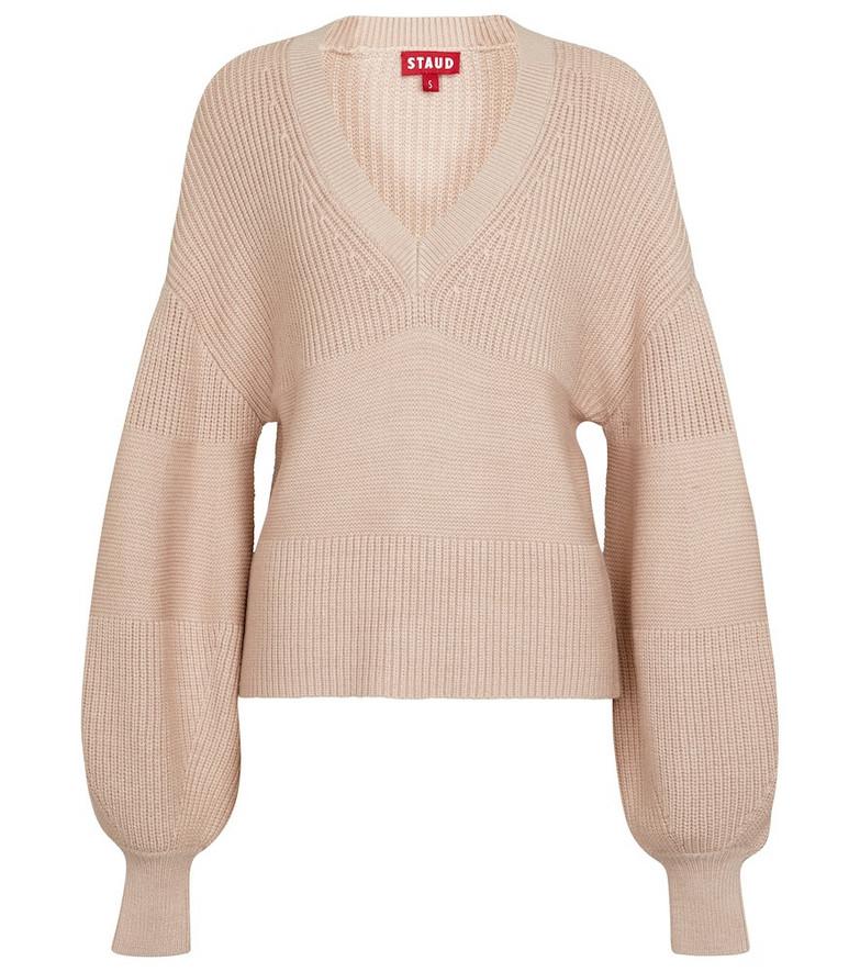 Staud Rye ribbed-knit sweater in beige