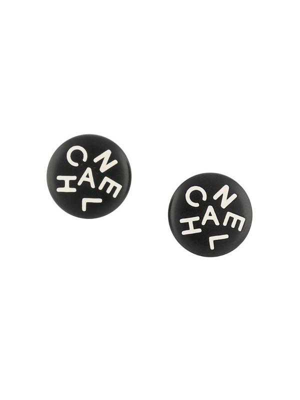 Chanel Pre-Owned 1995 logo button earrings in black