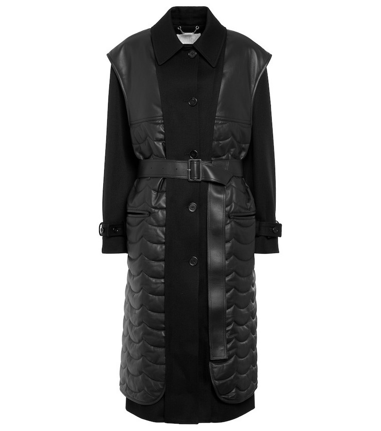 Chloé Wool gabardine and leather coat in black