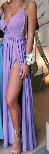dress,leg slit,purple,pink,a line dress,lace,backless dress,plunge v neck