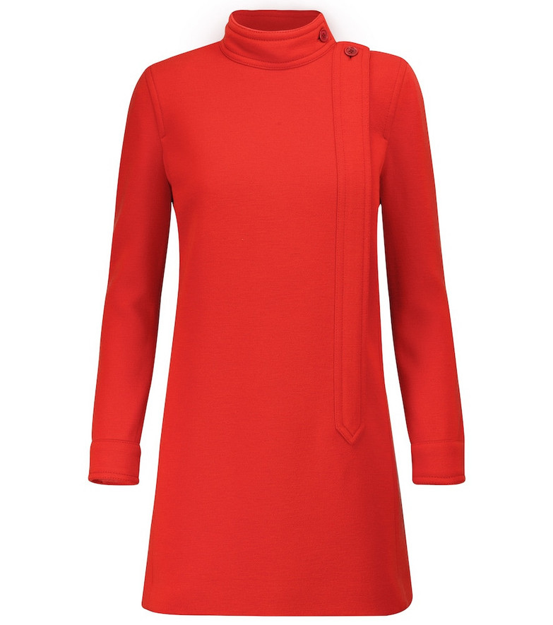 Saint Laurent Wool-blend jersey minidress in red