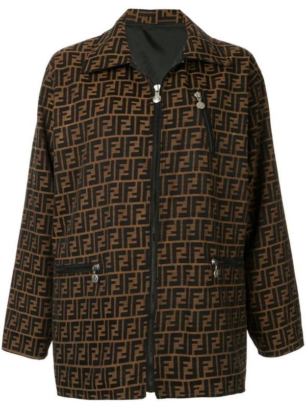 Fendi Pre-Owned Zucca pattern long sleeve jacket in black
