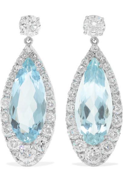 Martin Katz - 18-karat White Gold Aquamarine And Diamond Earrings