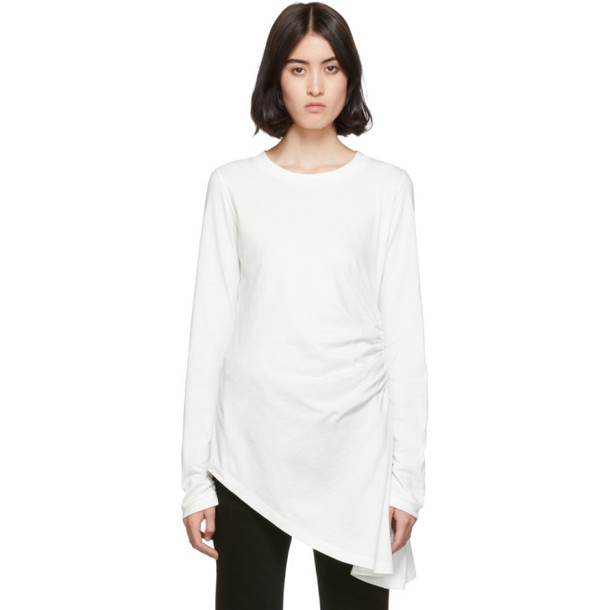 MM6 Maison Margiela White Ruched Long Sleeve T-Shirt