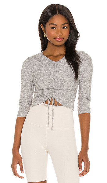 Beyond Yoga Scrunch It Up Cropped Pullover in Grey in silver