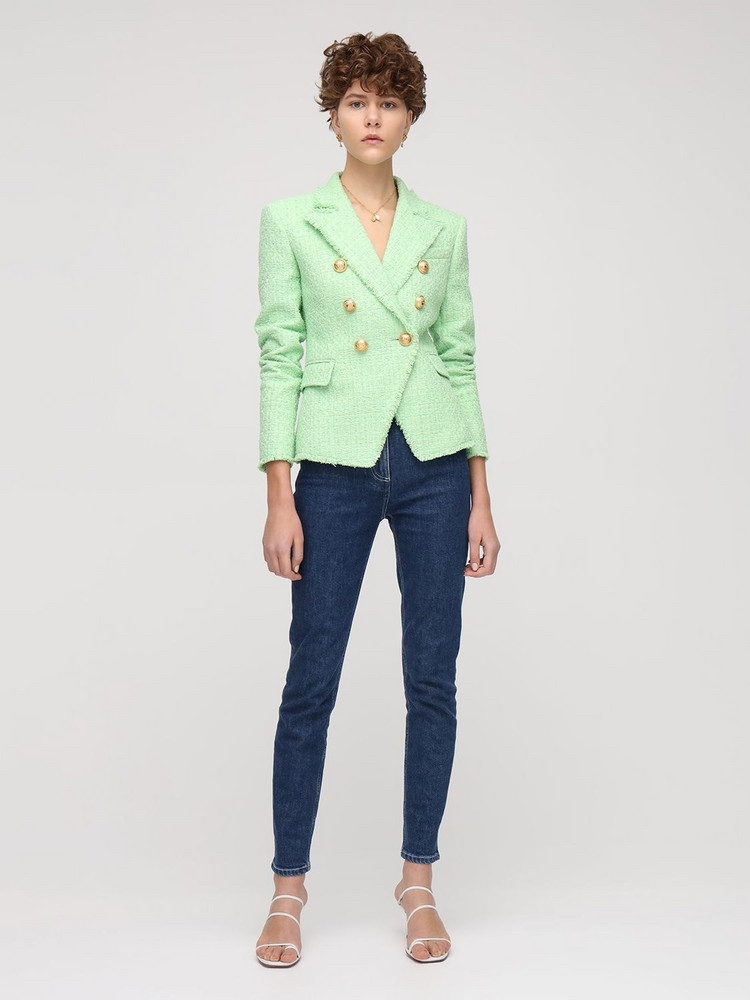 BALMAIN Buttoned Cotton Blend Fitted Jacket in green