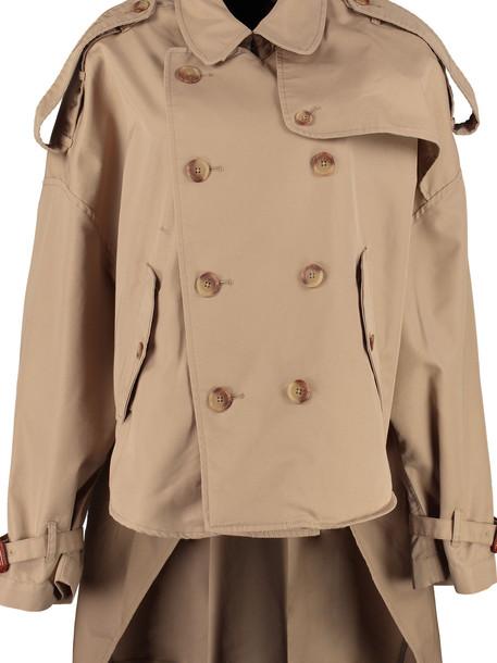 R13 Oversize Gabardine Trench Coat in beige