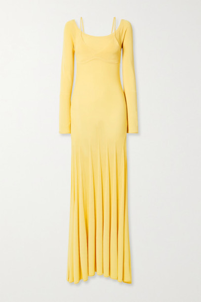 Jacquemus - Valensole Off-the-shoulder Pleated Stretch-knit Maxi Dress - Pastel yellow