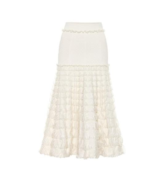 Alexander McQueen Knit midi skirt in white