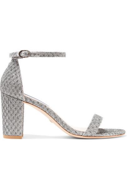 Stuart Weitzman - Nearlynude Metallic Jacquard Sandals - Silver
