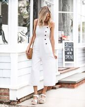 jumpsuit,white jumpsuit,sleeveless,platform sandals,white sandals,crossbody bag
