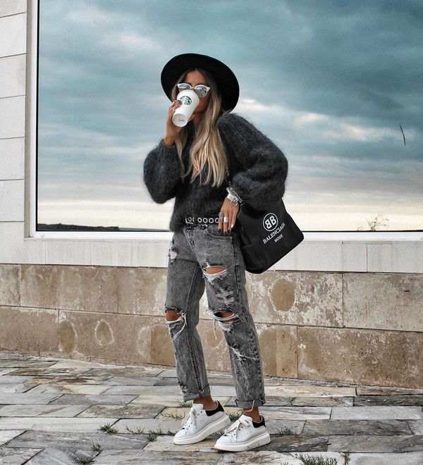 sweater grey sweater white sneakers ripped jeans balenciaga bag