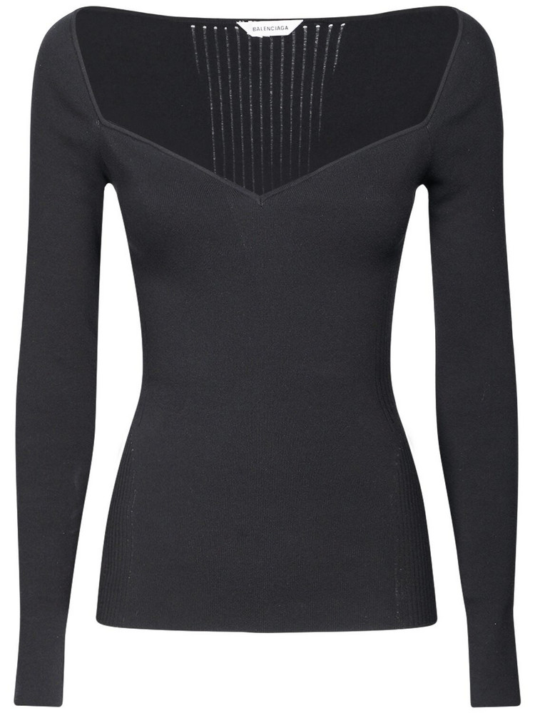 BALENCIAGA Off-the-shoulder Long Sleeved Knit Top in black