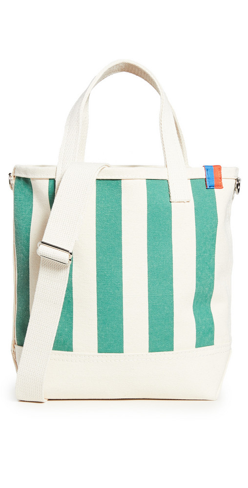 KULE The All Over Striped Bucket Bag in green