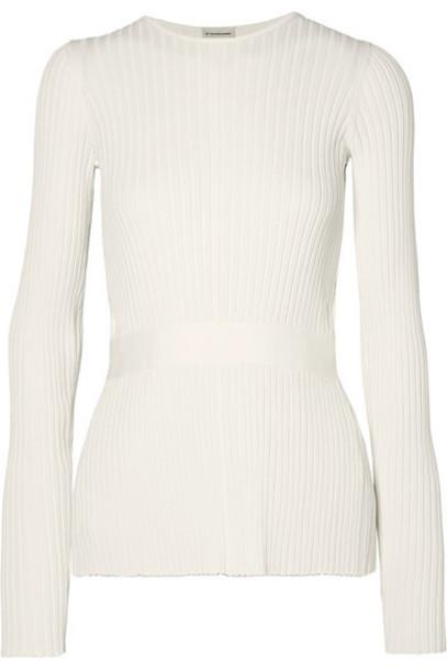 By Malene Birger - Geneva Tie-detailed Open-back Ribbed-knit Sweater - White