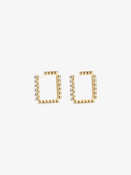AREA gold tone crystal square hoop earrings