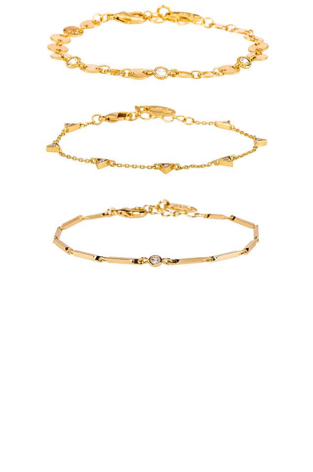 Ettika Mixed Bracelet Set in gold / metallic