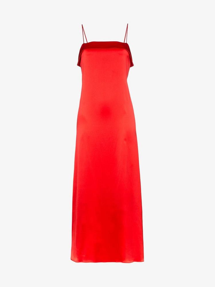 Deitas Coco silk fold over dress in red