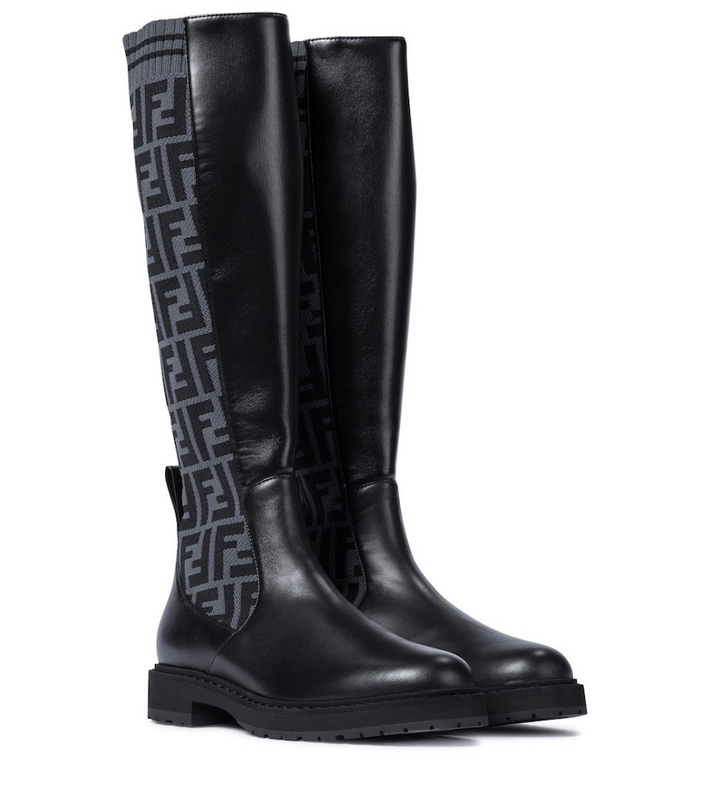Fendi FF leather knee-high boots in black