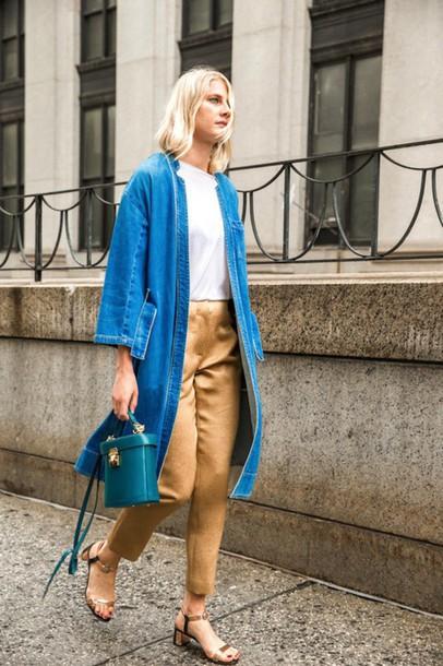 le fashion image blogger coat shoes denim jacket white top silk sandals high waisted blue bag blue long coat