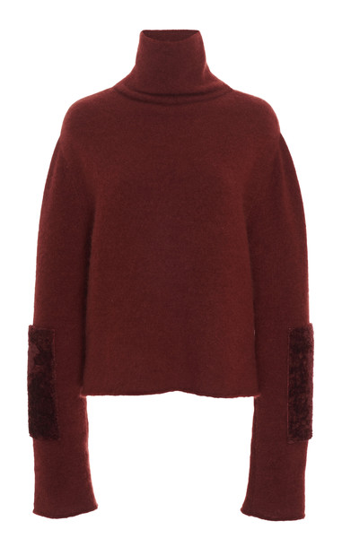 Sally LaPointe Shearling-Trimmed Alpaca-Cashmere Blend Turtleneck in burgundy