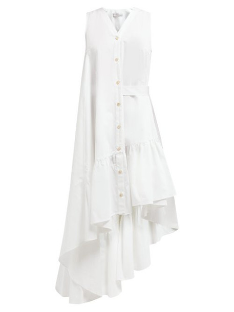 Palmer/harding Palmer//harding - Super Asymmetric Cotton Poplin Midi Dress - Womens - White