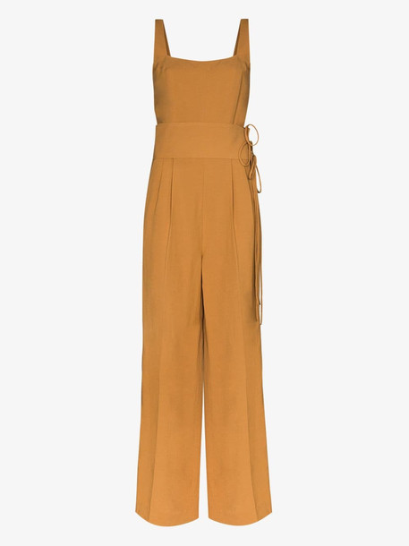 USISI lace-up jumpsuit in brown