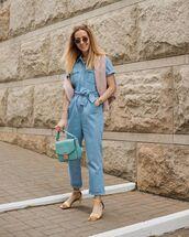 jumpsuit,short sleeve,sandal heels,bag,sweater