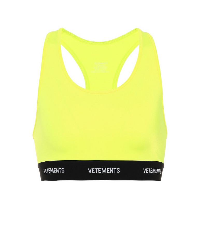 Vetements Logo sports bra in yellow