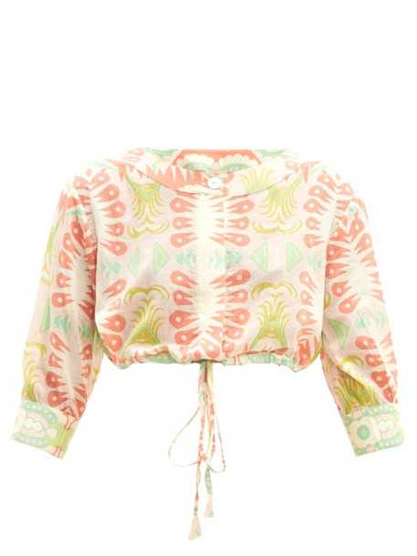 Le Sirenuse, Positano - Emma Abstract Print Cropped Cotton Shirt - Womens - Pink Multi