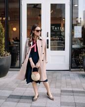 dress,knitted dress,midi dress,ballet flats,leopard print,trench coat,bucket bag