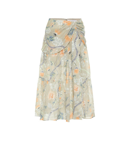 Chloé Floral ramie midi skirt in green