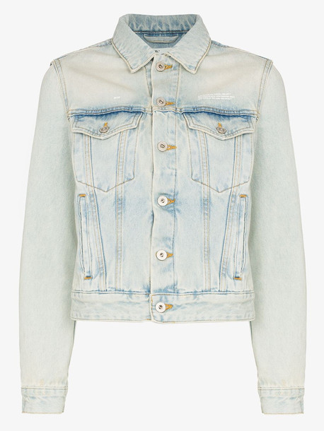 Off-White fitted bleach dyed denim jacket