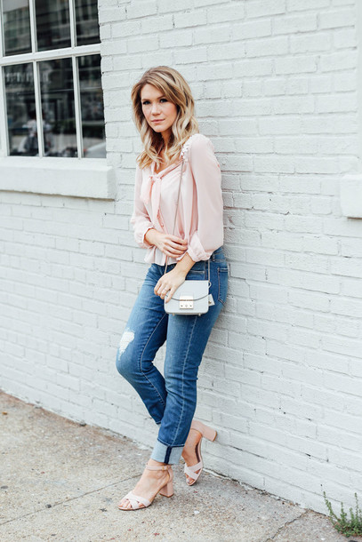 miss lyle style blogger shoes jeans blouse bag