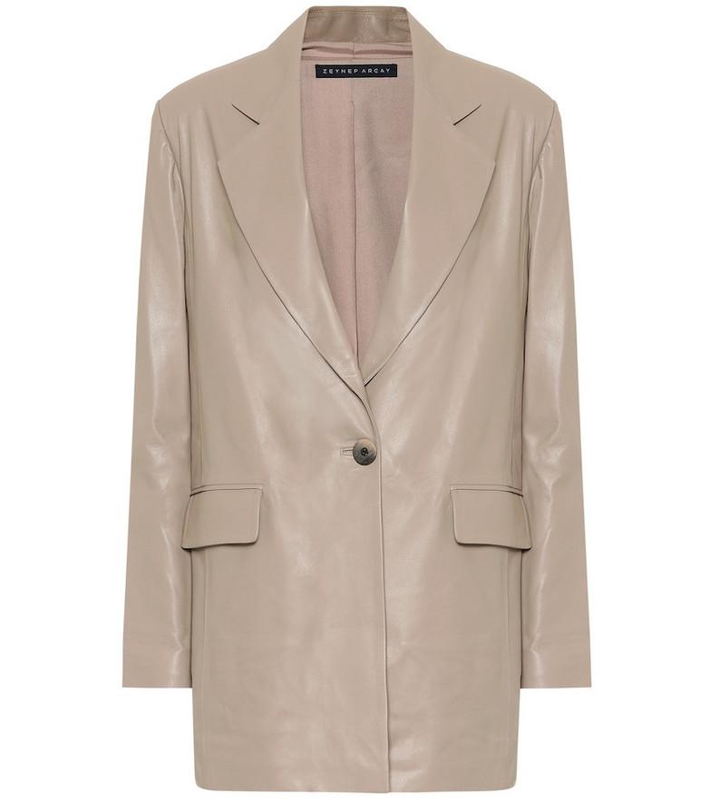 Zeynep Arçay Leather blazer in beige