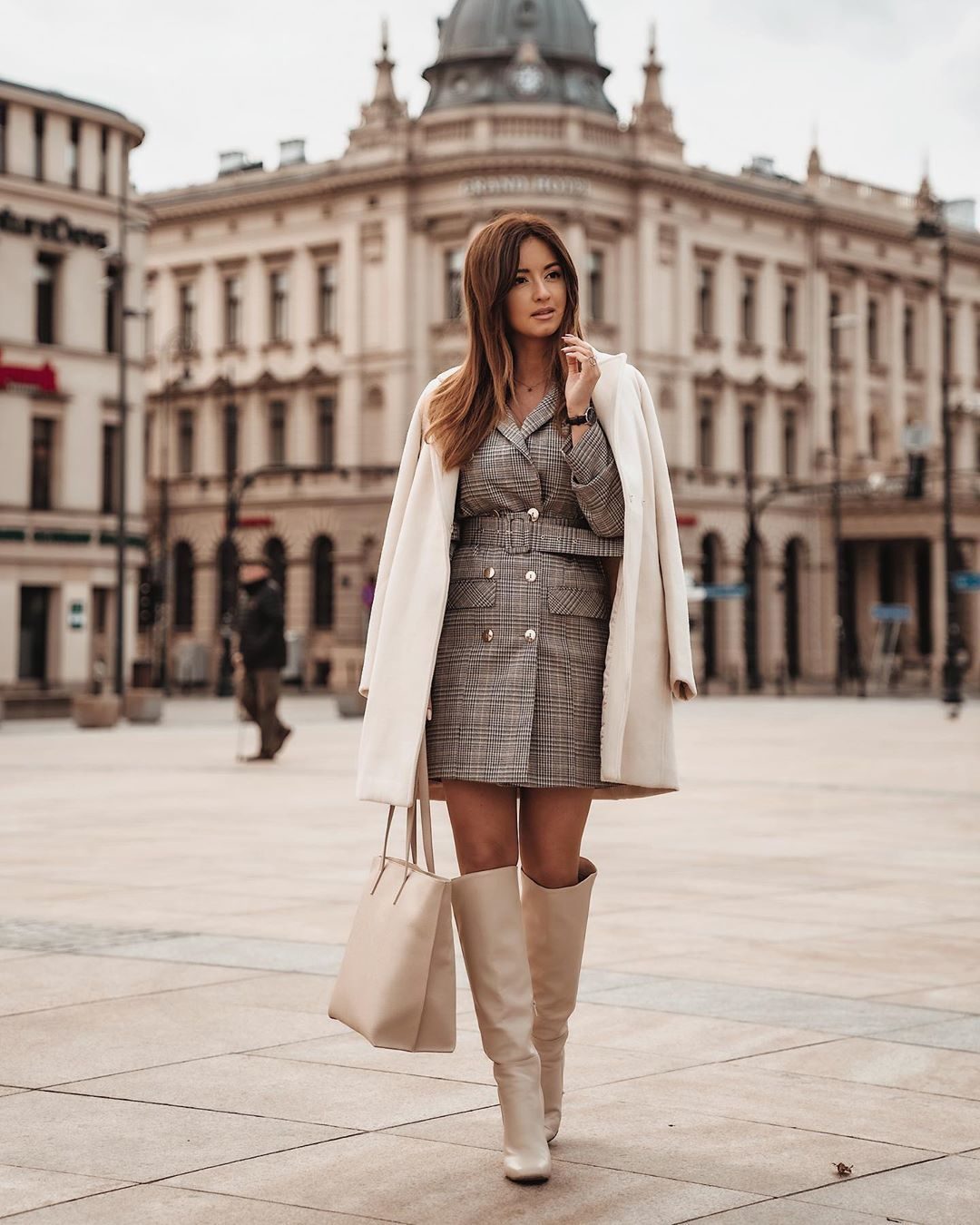 dress blazer dress plaid dress knee high boots bag white coat