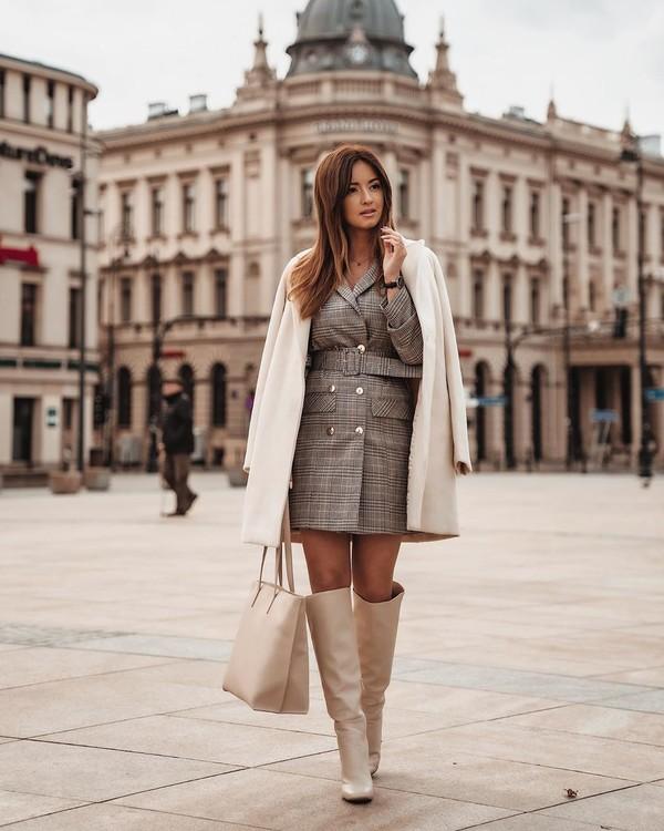dress blazer dress plaid dress knee high boots bag white coat