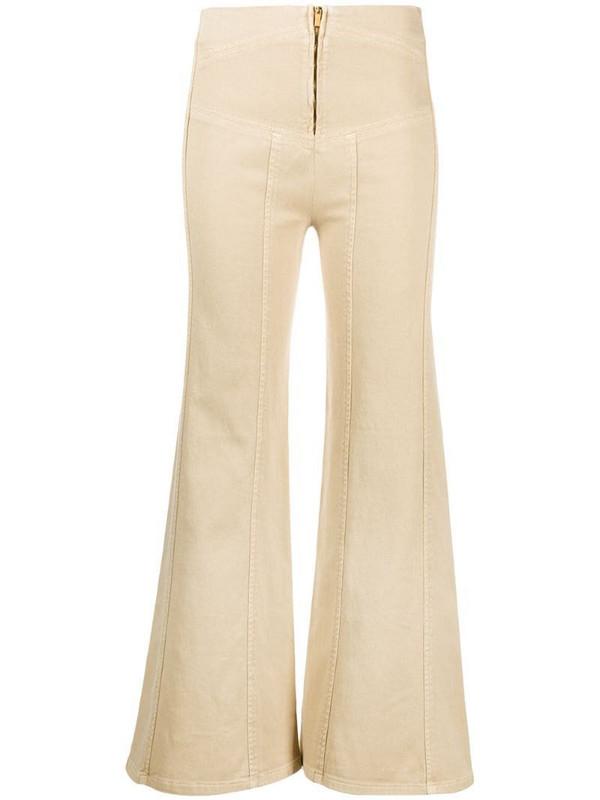Alberta Ferretti high-waisted flared trousers in neutrals