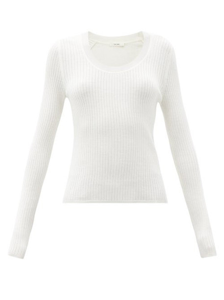 The Row - Amaia Scoop-neck Ribbed Merino-wool Blend Sweater - Womens - Ivory