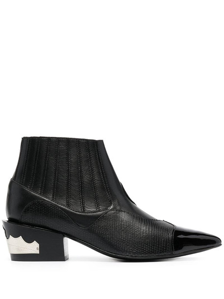Toga Pulla panelled leather ankle boots in black