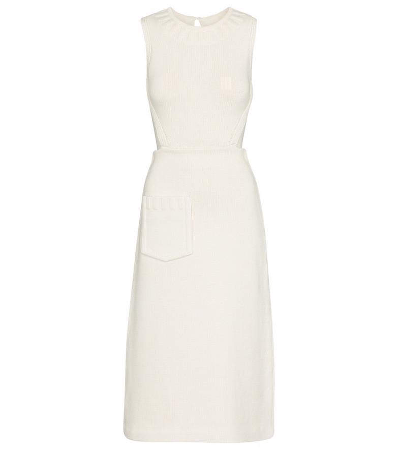 Fendi Cotton-blend knit midi dress in white