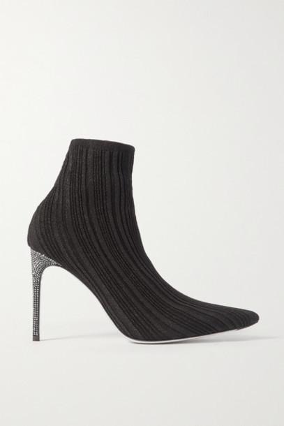 René Caovilla - Crystal-embellished Metallic Ribbed-knit Sock Boots - Black