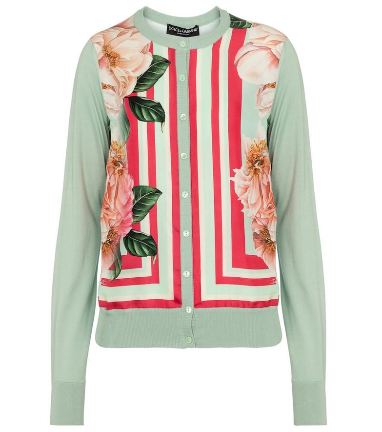 Dolce & Gabbana Floral silk twill cardigan in green