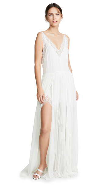 Jonathan Simkhai Embroidered Chiffon Lace Layered Gown in white