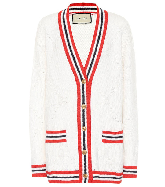 Gucci GG wool and silk cardigan in white
