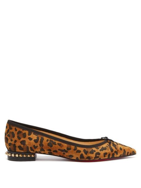 Christian Louboutin - Hall Leopard Print Suede Ballet Flats - Womens - Leopard