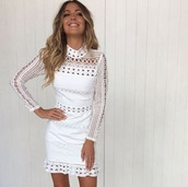 dress,white,long sleeves,detail,lace,cocktail,party,formal