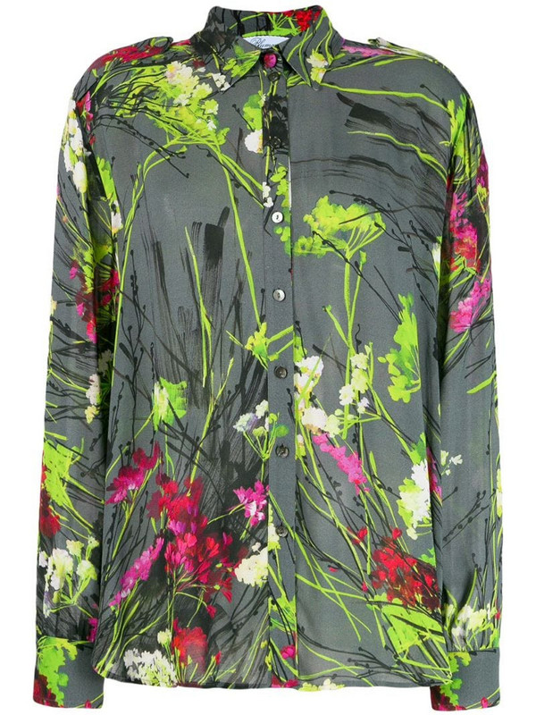 Blumarine floral print shirt in grey
