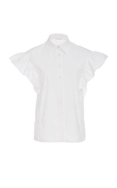 Carolina Herrera Flutter Sleeve Cotton Button Shirt in white